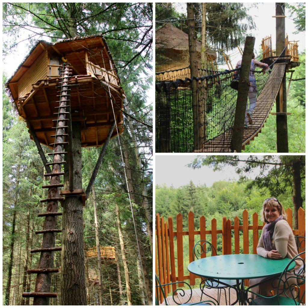 Baumhäuser Cabanes de Combrailles im Waldgebiet der Auvergne