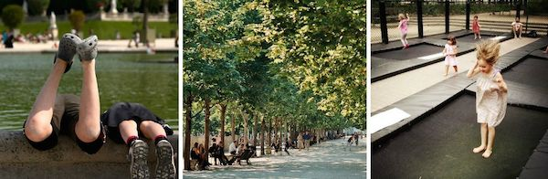 Paris-mit-Kinder Spielerei in dem Tuileries