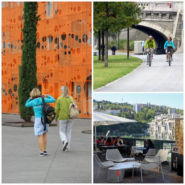 Radfahren in Lyon und Viertel La Confluence