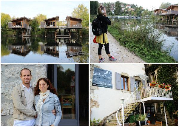 Häuser am Wasser in Chanaz Savoie Frankreich