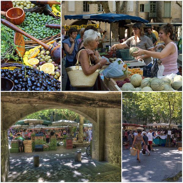 markt von Uzes auf dem place aux herbes in der Gard