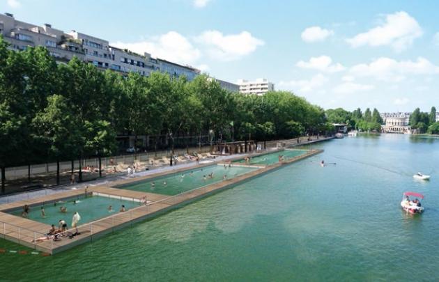 Paris Plage schwimmen in La Villette