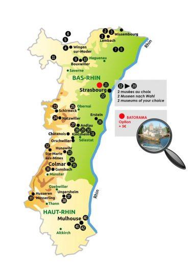 Pass Alsace - Karte von Elsass