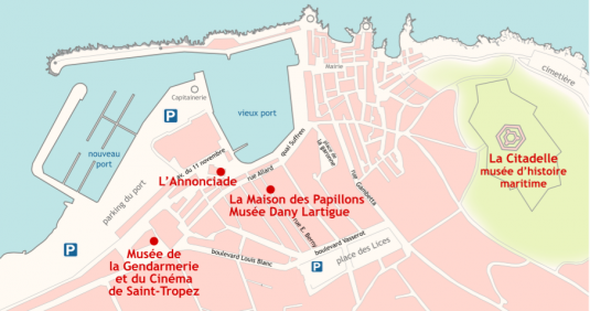 Karte van das Film-Museum in Saint Tropez