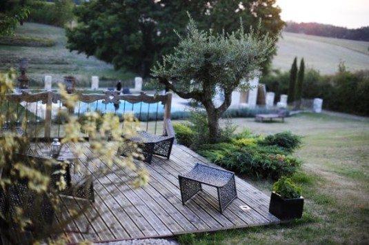 terrasse Ferienwohnung und B&B Le Cariol im Dordogne
