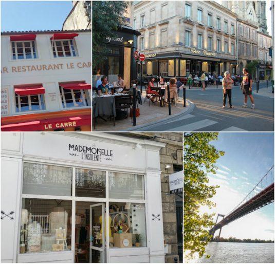 Bistros Le Carré und Chez Dupont, die Brücke von Aquitaine und eine der vielen schönen Boutiquen der Gegend
