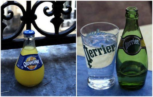An einem heißen Tag Orangina oder Perrier trinken