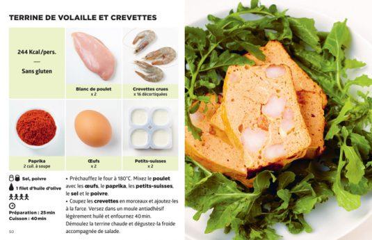Auf der linken Seite sind immer Fotos von den Zutaten sowie das Rezept zu finden; rechts ist dann ein großes Foto vom Endergebnis zu sehen.