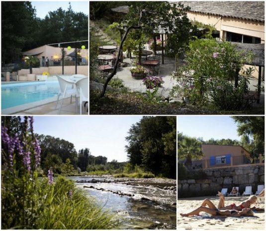 Umgebung Campingplatz La Vallée Verte: Eine Augenweide ist der Fluss Cèze, der ein ganzes Stück am Campingplatz entlang fließt und an dem es diverse Kieselstrände gibt.