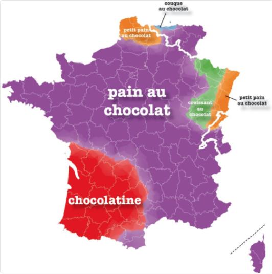 Frankreich Departements Karte.Chocolatine Versus Pain Au Chocolat Kampf Der Regionen
