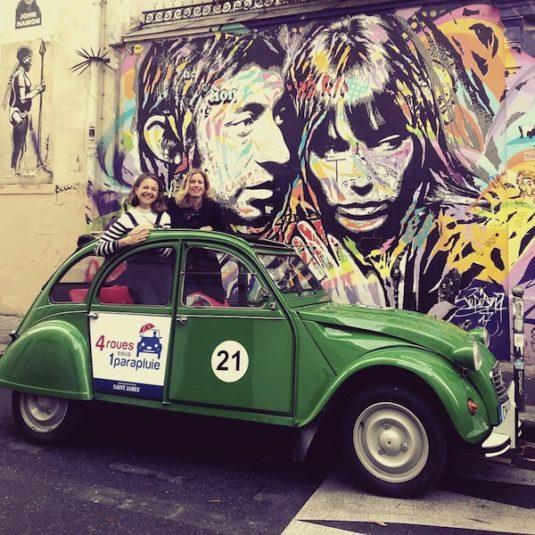 Riesiges Porträt von Serge Gainsbourg zusammen mit Jane Birkin