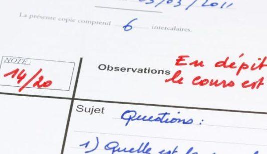 Copie d'examen - noten in frankreich in der Schule