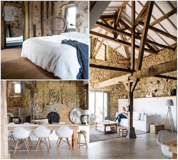 Französisches Ferienhaus in einem schönen, hellen und skandinavischen Stil