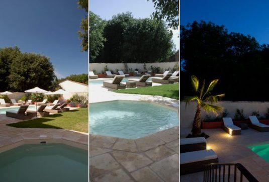 Garten mit Schwimmbad, Whirlpool und Terrasse