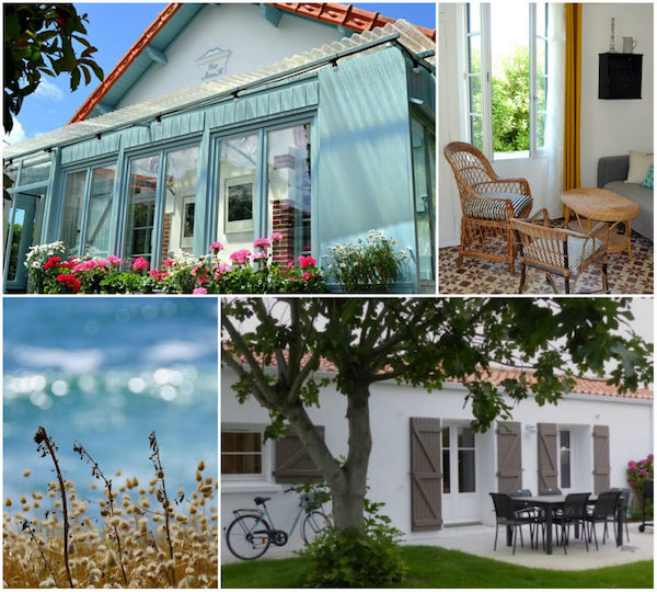 Blau-weißes Sommerhäuschen in der Vendée