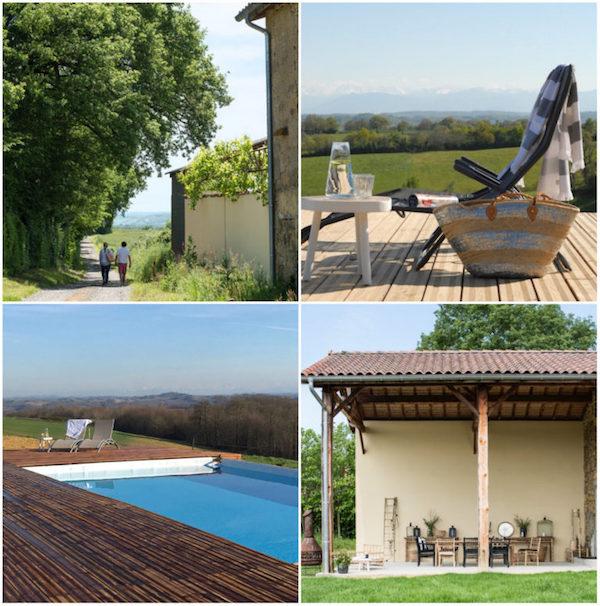 Terrasse mit Grill und Pool, der sich elegant zwischen den Holzplanken und dem leicht abfallenden Garten versteckt.