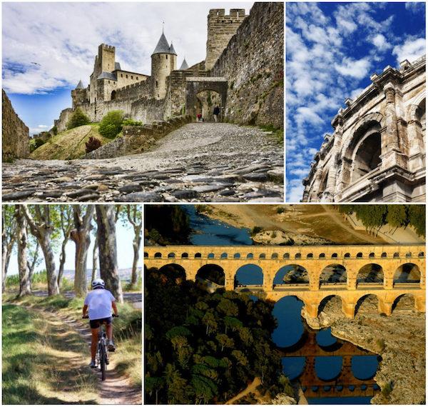 Carcassonne, Nîmes (wartet noch auf seinen Platz auf der UNESCO-Liste), Canal du Midi, Pont du Gard