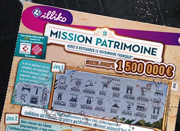 Rubbellose fürs französische Kulturerbe - Mission patrimoine in Frankreich