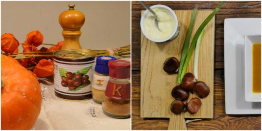 Zutaten für eine einfache Kürbis Kastanien Suppe