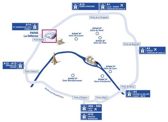Plan autoroute Pariser Autobahnring