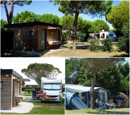 Camping-Stellplatz mit eigenen, beheizten Sanitärbereich mit Dusche, Waschbecken und WC.