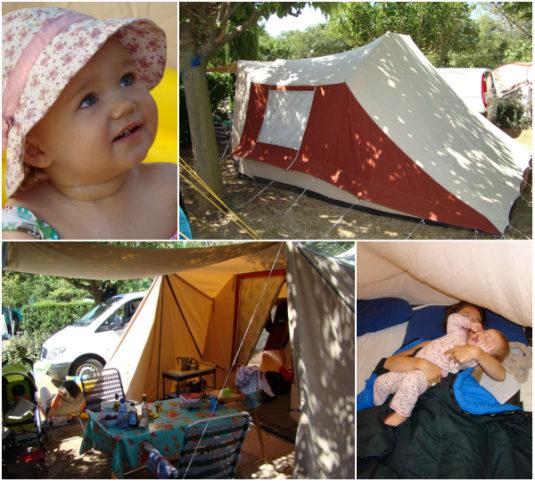 erste Erfahrung von Carole mit ihrem kleinen Kind auf der Campingplatz