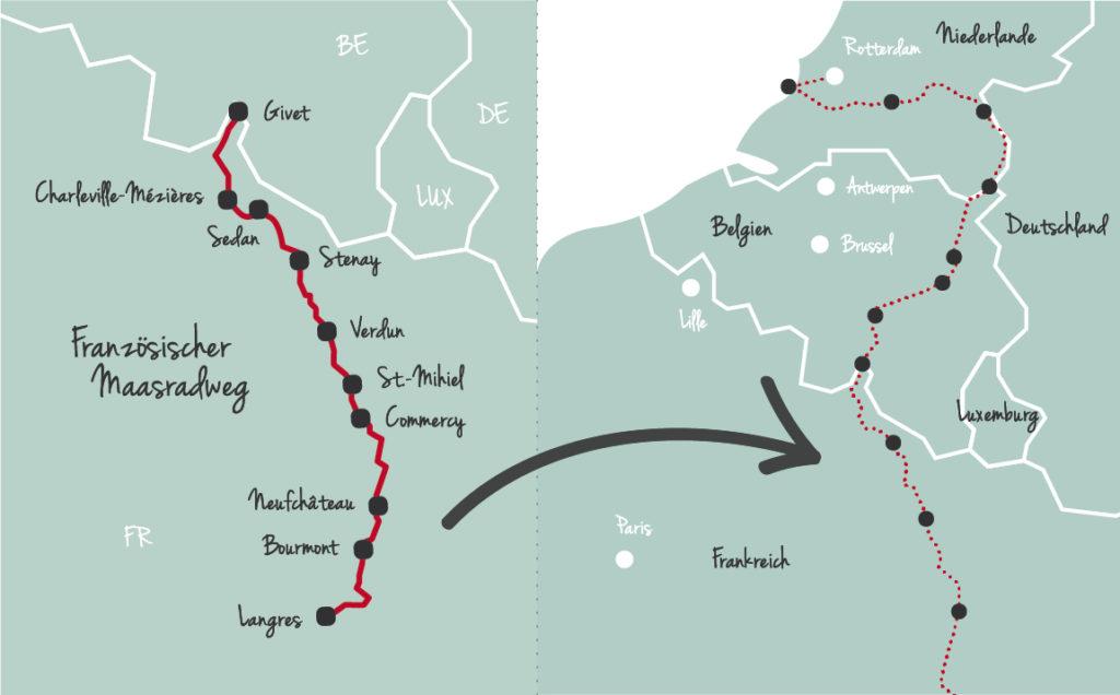 Map französischer Maasradweg