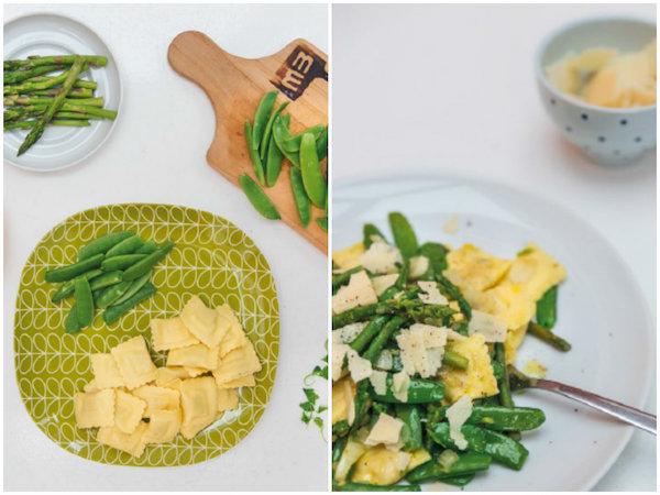 Ravioli mit grünem Gemüse