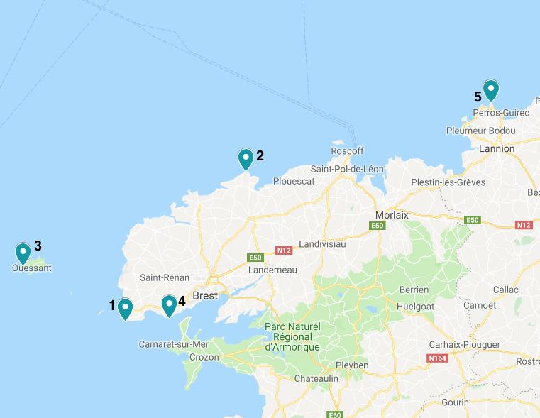 Bretagne Leuchttürme Maps