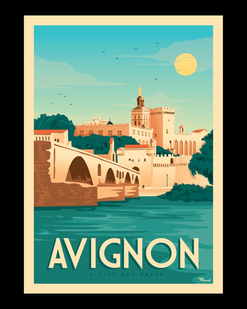 affiche avignon la cité des papes marcel travel posters