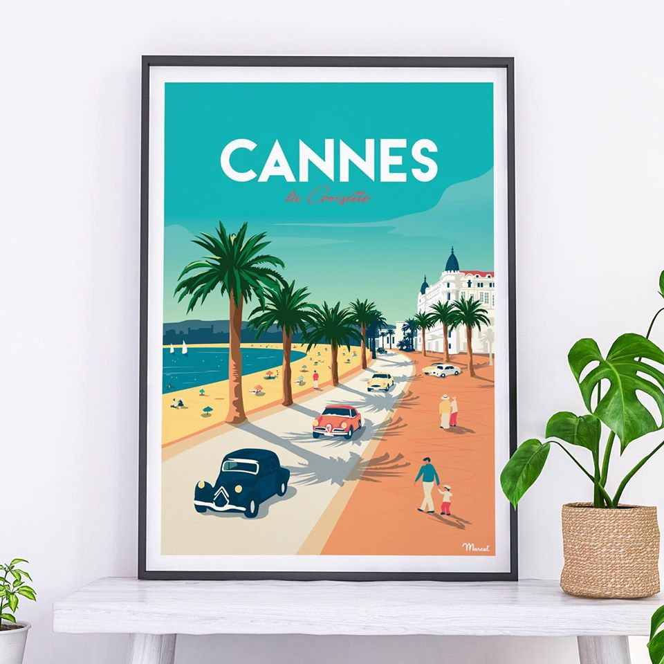 affiche Cannes Marcel Travelposters