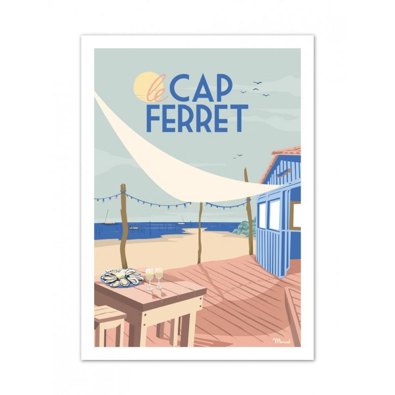 affiche cap ferret cabane à huitres marcel travelposters