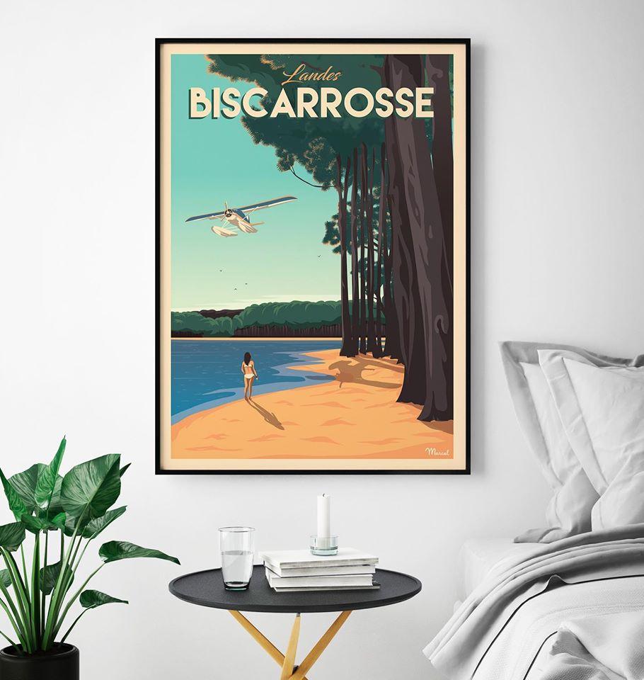 biscarosse marcel travel poster frankreich