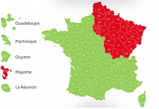 Departements Frankreich Corona