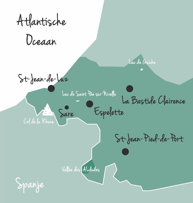 Karte Pays Basque Baskenkland Frankreich