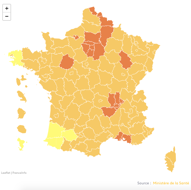 karte Frankreich COVID