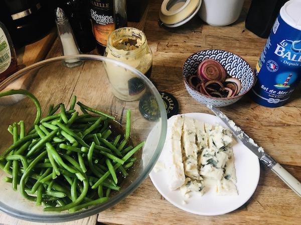 grünen Bohnen mit Roquefort